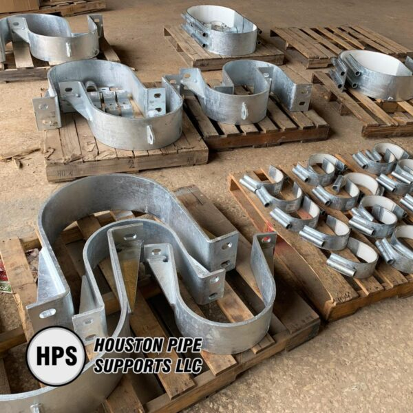 various sizes and types of pipe clamps