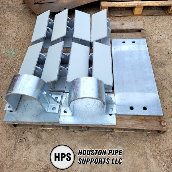 pallet of pipe supports and baseplates